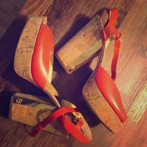 Orange Michael Kors Platform Sandals